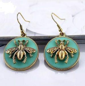 bee gold green statement earrings